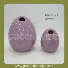 Egg shaped ceramic candle holders