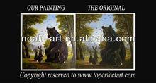 Lovely bear oil painting on linen canvas