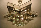 Moroccan Brass Jeweled Star Chandelier