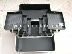 Black Lockable Handle Aluminum Cosmetic Portable Makeup Case