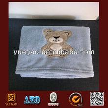 Light blue bear crochet bear coral fleece baby blanket wholesale