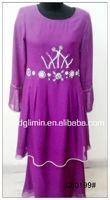 Latest Design Chiffon Muslim Purple Baju Kurung with 2 Layers