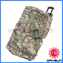 Waterproof military trolley duffle bag with wheels rolling