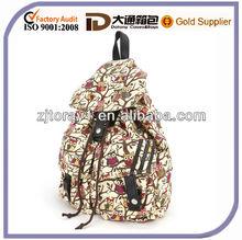 Cartoon Owl polka dot Canvas Backpack Rucksack School Bag 2 Pocket Side Zip