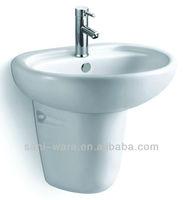 Ceramic half pedestal wall hung sinks in bathroom or kitchen S9005