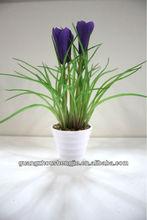 Wholesale Beautiful Mini Artificial cocktail flower plant of Stripe glue pots