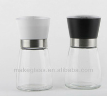 glass multifunction kitchen cruet ,glass grinder with colorful plastic cap