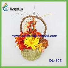 artificial pumpkin flower basket/fake flowers