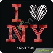 patriotic love for N.Y. rhinestone motif