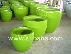 Glossy fiberglass pots & planters (Fiberglass-Fiberstone-Polystone-Poly terrazzo-Lightweight metal planters)