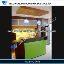 Smart green side&black top design acrylic solid surface home bar