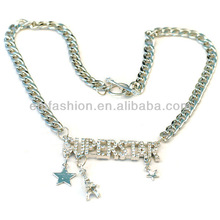 Fashion Rhinestone Letter Superstar Chunky Chain Necklace