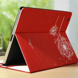 faddish red smart cover rotating stand leather case for ipad 3