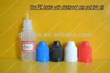 plastic e cigarette dropper bottle with long insert and blue lid