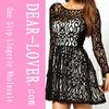 black long Sleeves Lace girls sexy clubwear