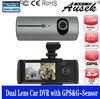 Popular hd car black box support gps and g-sensor dual cameras x3000 car