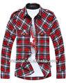 camisa para hombre de moda rojo guinga camisa de franela 2014