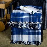 stock wool acrylic blend plaid wholesale wool throw blanket