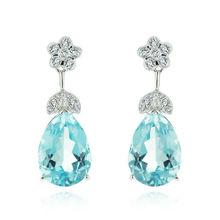 STAVIORI Diamond Blue Topaz Earrings 1591SE 18K Italian Exclusive Jewelry