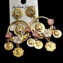 fashion design hanging earrings big hoop earrings with metal charm