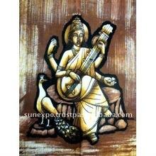 "Goddess of Art & Education Saraswati Indian Batik Tapestry Cotton Fabric Wall Decor Hanging 22"" X 16"""