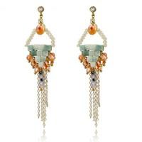 gemstone beads charm long chain tassel earrings hanging earrings ear lift