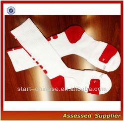 Wholesale Red White Sport Elite Dri-fit Fabric Crew Basketball Men's Socks/Cushioning Basketball Elite Men's Socks