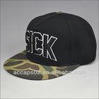 black camo flat peak snapback hats
