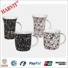 Wholesale 10oz Cheap Porcelain Flower Decor Coffee Mugs /Decal Mugs with Handle /11oz Decal Porcelain Coffee Mugs
