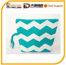 Professional Fashion White Print Makeup cosmetic Bag Wristlet, Chevron Cosmetics Bag