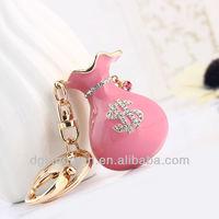 2013 hot woman crystal purse keychain