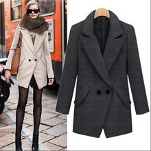 D72086t 2015 new spring women's single row two grain of buckle suit collar coat