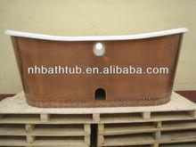 copper skirted antique bath tub