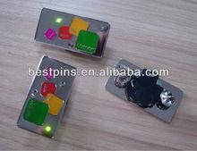 3 pcs rectangular picture light green butterfly pin badge