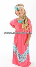 2013Fashion Baby Summer Girls Chevron Cotton Dress With Lace Baby Maxi Long Dress Wholesale Baby Summer Chevron kids dance Dress