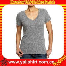 customized women v-neck fashion soft cotton t-shirts