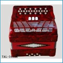 GCF tone 34 button 12 bass button accordion/button accordion with hard case/12 bass chromatic accordion
