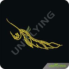 Yellow falling leaf rhinestone transfer design 2013