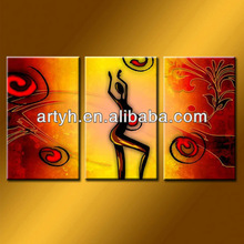 Popular dancing nude woman digital art painting group painting with 3 pieces on canvas for wholesale