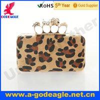 Custom fashion frosted leopard material rose flower evening bag U0012-058