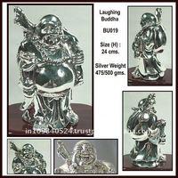 silver laughing buddha