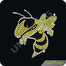 Cool yellow bee rhinestone transfer