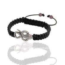 Diamond Pave Snake Charm Macrame Bracelet