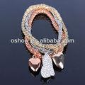 encantador de la moda corazón colgante de diamantes de imitación de maíz tres pulsera de cadena