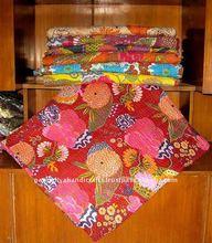 Indian Kantha Quilt Queen-King Hand stitched Indian kantha quilts designer vintage handamde ethnic flower prints quilts