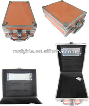 small aluminum makeup box with mirror