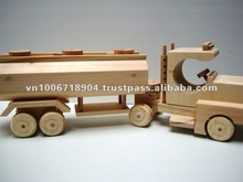 Wooden toy for kid - Trator cab with tank trailer