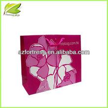 2013 hot sale pink rose flower design gift paper bag