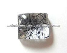 Black Rutile Natural Square Cabochon Loose Stones