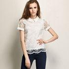White elegant lace fabric tops blouses